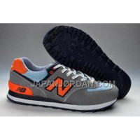 送料無料 New Balance 574 Womens Orange Grey Blue Shoes