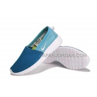 送料無料 2014 Nike Roshe Run Slip On Couple Womens Blue Shoes