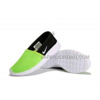 2014 Nike Roshe Run Slip On Couple Womens Fluorescent Green Shoes ホット販売