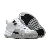 "2018 Kids Air Jordan 12 ""Barons"" White/Black-Wolf Grey Super Deals"