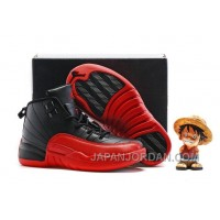 2018 Kids Air Jordan 12 Black/Varsity Red Authentic