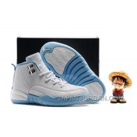 "2018 Kids Air Jordan 12 ""Melo"" White/Metallic Gold-University Blue Super Deals"