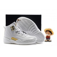 2018 Kids Air Jordan 12 All White Gold Cheap To Buy