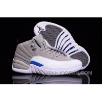 2018 Air Jordan 12 Wolf Grey White Blue Authentic