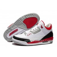 New Air Jordan 3 Retro White/Fire Red-Cement Grey For Sale