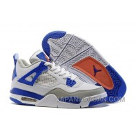 "2018 Air Jordan 4 ""Knicks"" White/Hyper Orange-Deep Royal Blue-Wolf Grey Online"