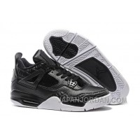 "2018 Air Jordan 4 Retro Premium ""Black"" Black/Black-Sail For Sale"