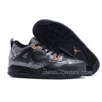 2018 Air Jordan 4 Black Snakeskin Black/Grey Free Shipping