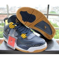 Air Jordan 4 Dunk From Above Navy Blue Yellow Authentic