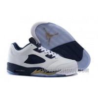 "2018 Air Jordan 5 Low ""Dunk From Above"" White/Metallic Gold Star-Midnight Navy Top Deals"
