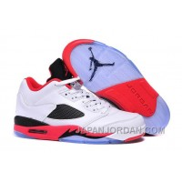 "2018 Air Jordan 5 Low ""Fire Red"" White/Fire Red-Black New Release"