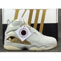 "2018 Air Jordan 8 ""Champagne"" Light Bone/Metallic Gold-White Lastest"
