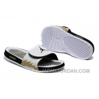 2018 Air Jordan Hydro 5 White Black Gold Slide Sandals New Release