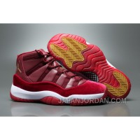 "2018 Air Jordan 11 GS Velvet ""Heiress"" Night Maroon/Metallic Gold-Night Maroon For Sale"