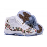 "2018 Air Jordan 11 GS ""Floral Flower"" White Brown Discount"