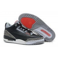 "New Air Jordan 3 Retro ""Black Cement"" Black/Varsity Red-Cement Grey Authentic"