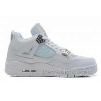 "New Air Jordan 4 Retro ""Silver 25th Anniversary"" White/Metallic Silver Cheap To Buy"