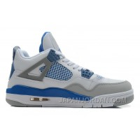 New Air Jordan 4 Retro White/Military Blue-Neutral Grey Online