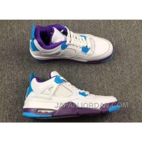 "2018 Air Jordan 4 ""Hornets"" White Blue Purple New Release"