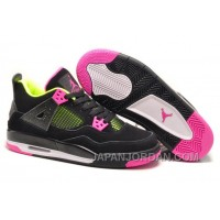New Air Jordan 4 GS Black Suede Light Green Pink Top Deals