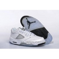 2018 Air Jordan 5 Low GS White/Black-Wolf Grey Free Shipping