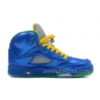 "New Air Jordan 5 Retro ""Easter"" Metallic Blue-Yellow/Pine Green Discount"