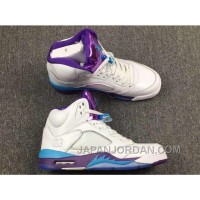 "2018 Air Jordan 5 ""Hornets"" White Blue Purple Super Deals"