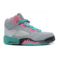 "New Air Jordan 5 GS ""Miami Vice"" Grey/Teal-Pink Super Deals"