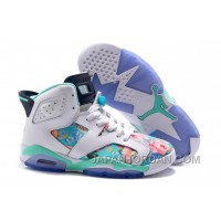 "2018 Air Jordan 6 GS ""Floral Print"" White Blue Super Deals"