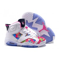 "2018 Air Jordan 6 GS ""Floral Print"" White Pink Shoes Discount"