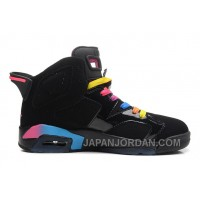New Air Jordan 6 Retro Black/Pink Flash-Marina Blue Online