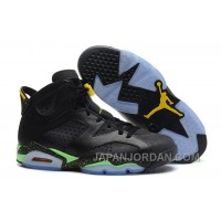 "New Air Jordan 6 Retro "" World Cup"" Black/Light Lucid Green-Tour Yellow Authentic"