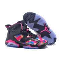 "2018 Air Jordan 6 GS ""Floral Print"" Black Pink Shoes Top Deals"