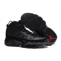 New Air Jordan 9 GS Black/Dark Charcoal-Varsity Red Free Shipping