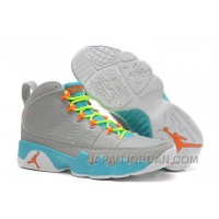 Air Jordan 9 GS Wolf Grey/Neon Orange-Mint Candy New Release