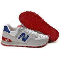 New Balance 574 Mens Grey Blue Red Shoes 割引販売