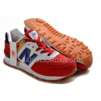 New Balance 574 Mens Red White Blue Shoes 割引販売