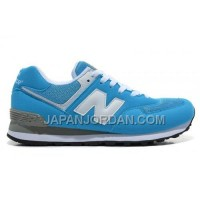 New Balance 574 Mens White Light Blue Shoes 新着