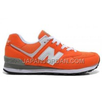 New Balance 574 Mens White Orange Shoes 割引販売