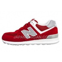 New Balance 574 Suede Womens Red Grey ホット販売