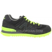 New Balance 574 Womens Black Grey Neon Green ホット販売