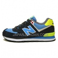 New Balance 574 Womens Black Yellow Blue ホット販売