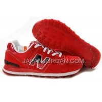 New Balance 574 Womens Fire Red White ホット販売