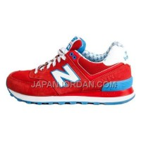 送料無料 New Balance 574 Womens Fire Red White Blue Shoes