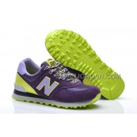 送料無料 New Balance 574 Womens Grade School Purple Grey Neon Green