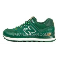 送料無料 New Balance 574 Womens Green Golden Shoes