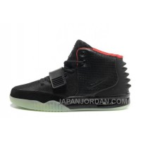 Nike Air Yeezy 2 Black/Solar Red Glow In The Dark Online