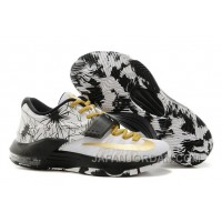 "Nike Kevin Durant KD 7 VII ""Patterns"" White-Black/Metallic Gold For Sale New Release"