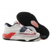 "Nike Kevin Durant KD 7 VII ""USA"" White/Obsidian-University Red For Sale Online"