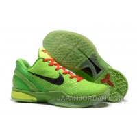 Nike Zoom Kobe 6 Grinch Christmas Green Mamba Basketball Shoes Discount